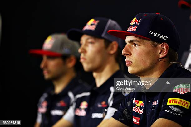 Max Verstappen of Netherlands and Red Bull Racing Daniil Kvyat of Russia and Scuderia Toro Rosso and Carlos Sainz of Spain and Scuderia Toro Rosso in...