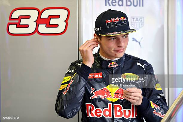 Max Verstappen of Netherlands and Red Bull Racing gets ready in the garage during the Canadian Formula One Grand Prix at Circuit Gilles Villeneuve on...
