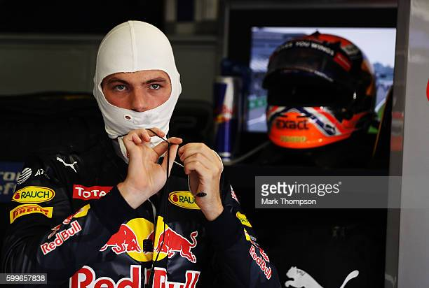 Max Verstappen of Netherlands and Red Bull Racing gets ready in the garage before the Formula One Grand Prix of Italy at Autodromo di Monza on...