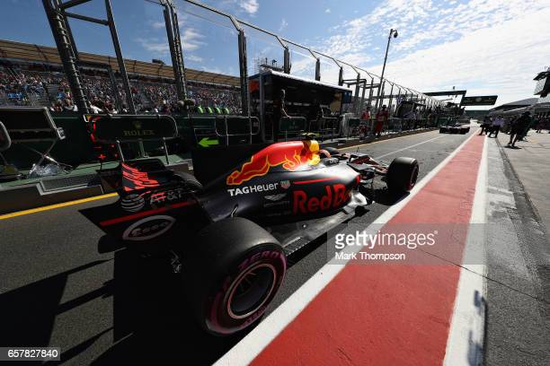 Max Verstappen of Netherlands and Red Bull Racing in the Pitlane during the Australian Formula One Grand Prix at Albert Park on March 26 2017 in...