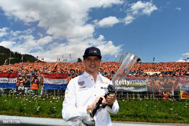 Max Verstappen of Netherlands and Red Bull Racing is seen with a tshirt gun on the drivers parade before the Formula One Grand Prix of Austria at Red...