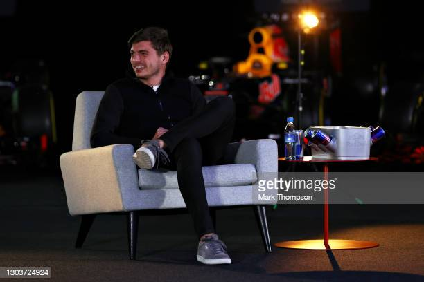 Max Verstappen of Netherlands and Red Bull Racing laughs during An Evening with Red Bull Racing at Red Bull Racing Factory on February 23, 2021 in...