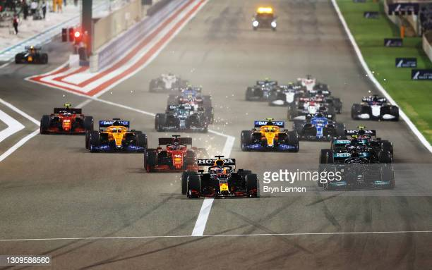 Max Verstappen of Netherlands and Red Bull Racing leads the field at the start of the race during the F1 Grand Prix of Bahrain at Bahrain...