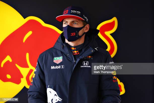 Max Verstappen of Netherlands and Red Bull Racing looks on during the Red Bull Racing Filming Day at Silverstone on February 24, 2021 in Northampton,...