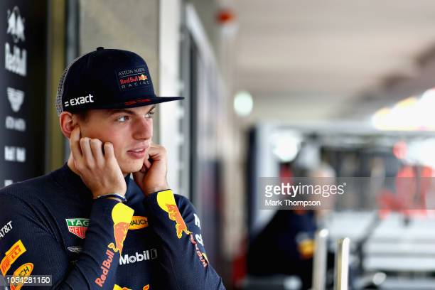 Max Verstappen of Netherlands and Red Bull Racing looks on in the garage during final practice for the Formula One Grand Prix of Mexico at Autodromo...