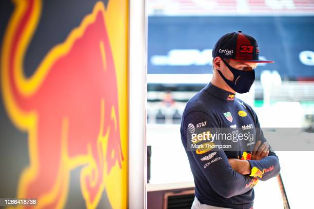 Max Verstappen of Netherlands and Red Bull Racing looks on in the garage during final practice for the F1 Grand Prix of Spain at Circuit de...