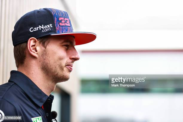 Max Verstappen of Netherlands and Red Bull Racing looks on in the Paddock during previews ahead of the F1 Grand Prix of Great Britain at Silverstone...