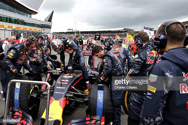 Max Verstappen of Netherlands and Red Bull Racing on the grid before the Formula One Grand Prix of Great Britain at Silverstone on July 10 2016 in...