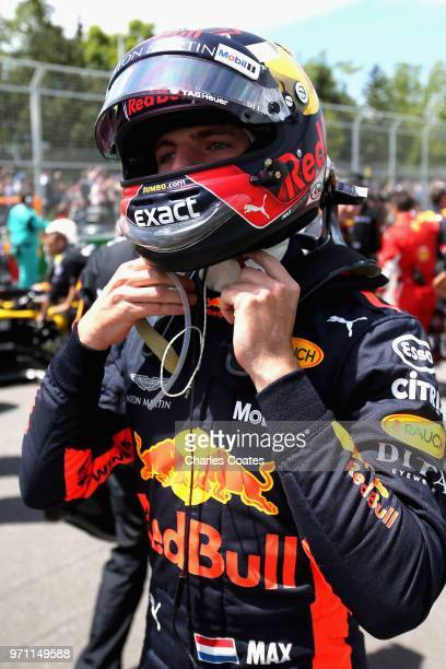 Max Verstappen of Netherlands and Red Bull Racing on the grid before the Canadian Formula One Grand Prix at Circuit Gilles Villeneuve on June 10 2018...