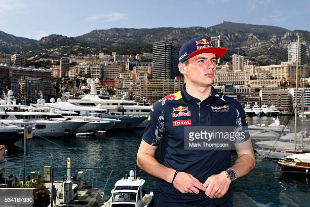 Max Verstappen of Netherlands and Red Bull Racing on top of the Red Bull Racing Energy Station overlooking the harbour during previews to the Monaco...