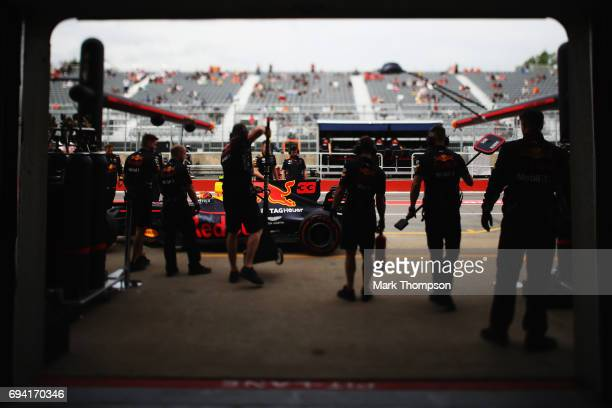 Max Verstappen of Netherlands and Red Bull Racing outside the Red Bull Racing garage during practice for the Canadian Formula One Grand Prix at...