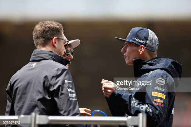 Max Verstappen of Netherlands and Red Bull Racing Pierre Gasly of France and Scuderia Toro Rosso and Stoffel Vandoorne of Belgium and McLaren F1 talk...