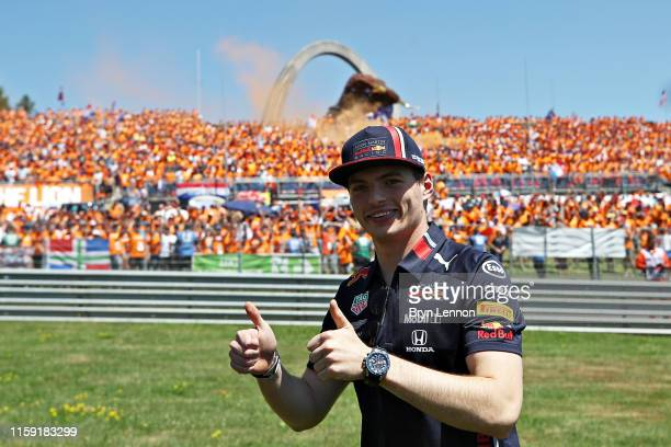 Max Verstappen of Netherlands and Red Bull Racing poses for a photo on the drivers parade before the F1 Grand Prix of Austria at Red Bull Ring on...