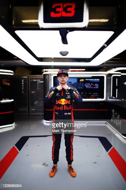 Max Verstappen of Netherlands and Red Bull Racing poses for a photo in the garage during Day Two of F1 Winter Testing at Circuit de...