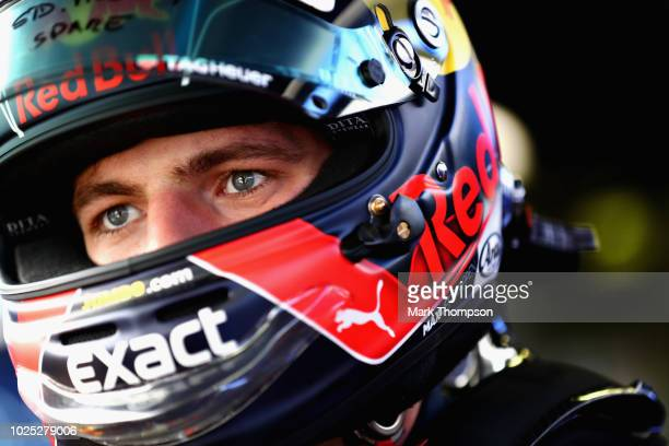 Max Verstappen of Netherlands and Red Bull Racing prepares for a seat fitting in the garage during previews ahead of the Formula One Grand Prix of...