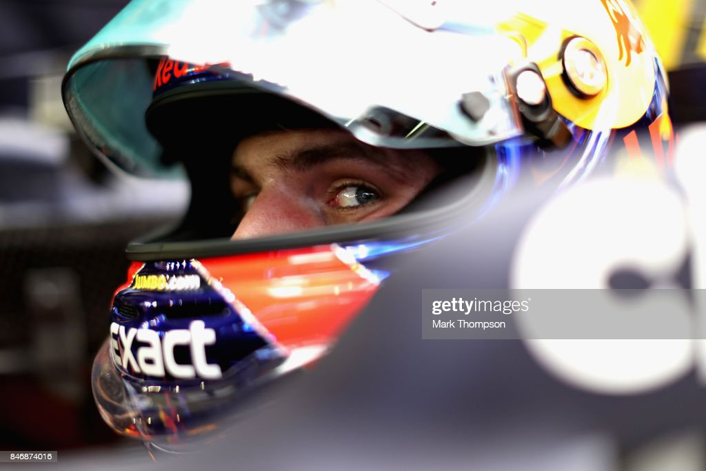 Max Verstappen of Netherlands and Red Bull Racing prepares for the weekend in the garage during previews ahead of the Formula One Grand Prix of Singapore at Marina Bay Street Circuit on September 14, 2017 in Singapore.