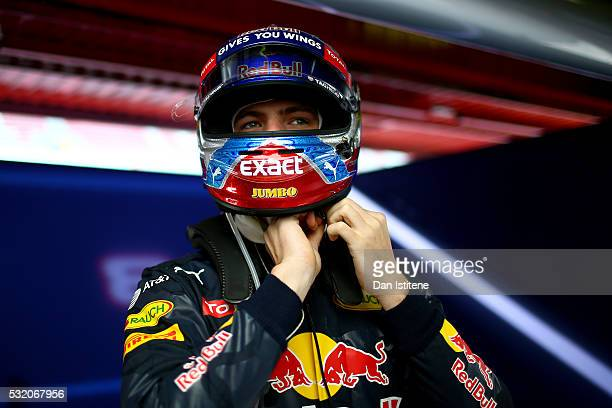 Max Verstappen of Netherlands and Red Bull Racing prepares in the garage during day two of formula one testing at Circuit de Catalunya on May 18 2016...