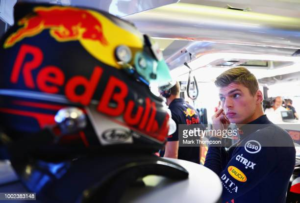 Max Verstappen of Netherlands and Red Bull Racing prepares to drive during practice for the Formula One Grand Prix of Germany at Hockenheimring on...