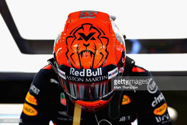 Max Verstappen of Netherlands and Red Bull Racing prepares to drive in the garage during practice for the Formula One Grand Prix of Belgium at...