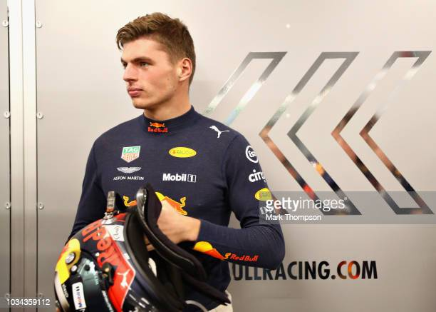Max Verstappen of Netherlands and Red Bull Racing prepares to drive in the garage before the Formula One Grand Prix of Singapore at Marina Bay Street...