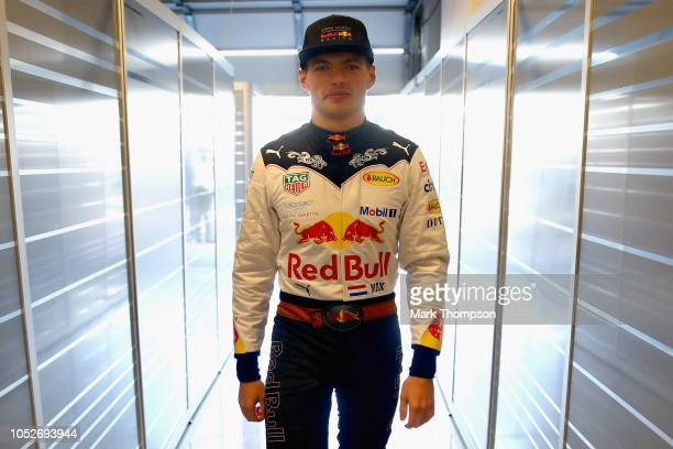 Max Verstappen of Netherlands and Red Bull Racing prepares to drive in the garage before the United States Formula One Grand Prix at Circuit of The...