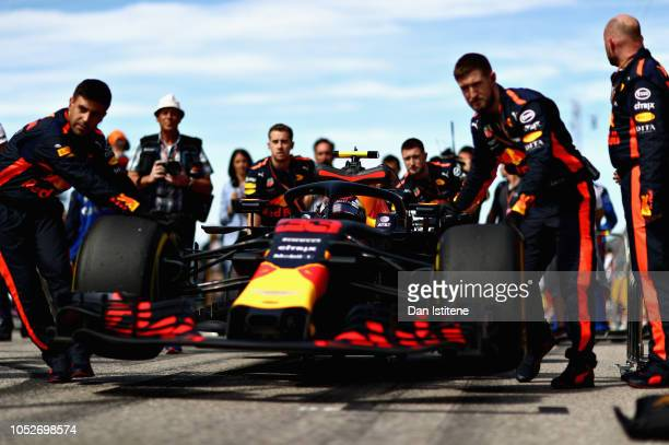 Max Verstappen of Netherlands and Red Bull Racing prepares to drive on the grid before the United States Formula One Grand Prix at Circuit of The...