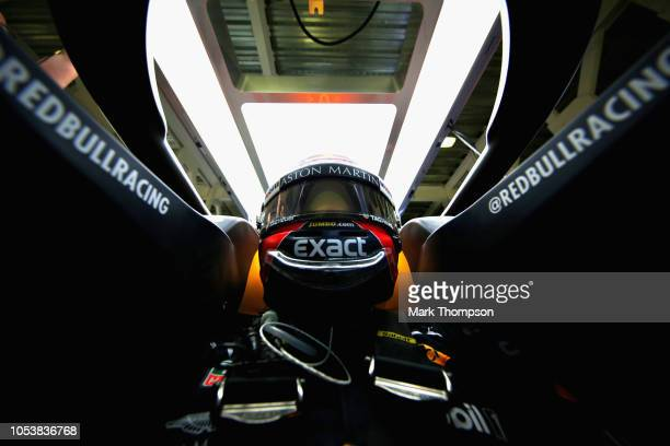 Max Verstappen of Netherlands and Red Bull Racing prepares to drive in the garage during practice for the Formula One Grand Prix of Mexico at...