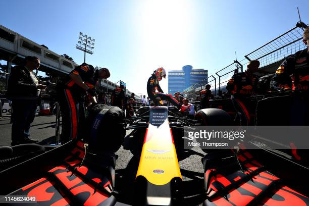 Max Verstappen of Netherlands and Red Bull Racing prepares to drive on the grid before the F1 Grand Prix of Azerbaijan at Baku City Circuit on April...