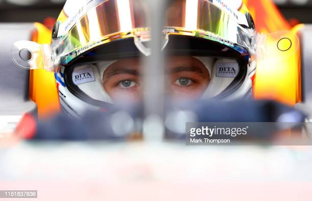 Max Verstappen of Netherlands and Red Bull Racing prepares to drive in the garage before the F1 Grand Prix of Monaco at Circuit de Monaco on May 26,...