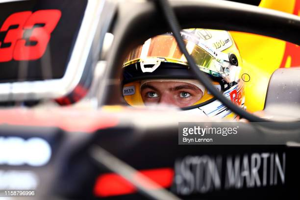 Max Verstappen of Netherlands and Red Bull Racing prepares to drive in the garage during practice for the F1 Grand Prix of Austria at Red Bull Ring...