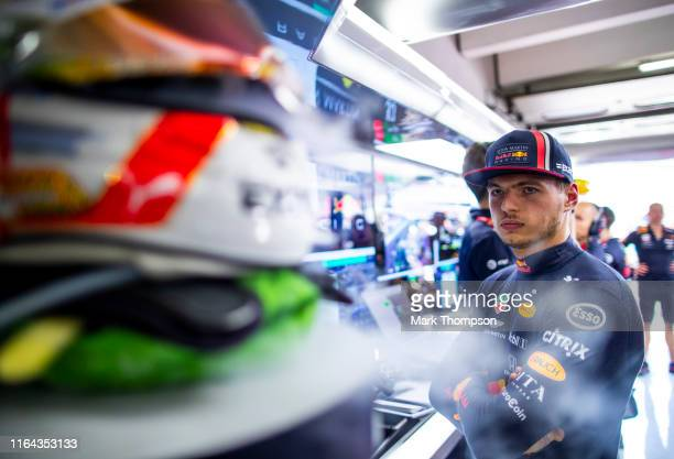 Max Verstappen of Netherlands and Red Bull Racing prepares to drive in the garage during practice for the F1 Grand Prix of Germany at Hockenheimring...