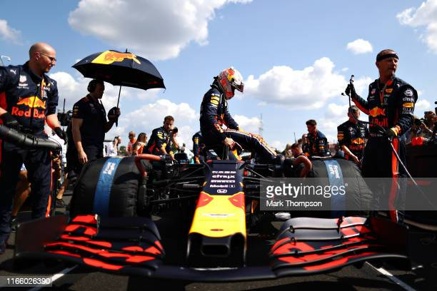 Max Verstappen of Netherlands and Red Bull Racing prepares to drive on the grid before the F1 Grand Prix of Hungary at Hungaroring on August 04 2019...