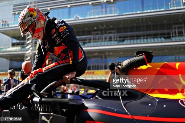 Max Verstappen of Netherlands and Red Bull Racing prepares to drive on the grid before the F1 Grand Prix of Russia at Sochi Autodrom on September 29,...