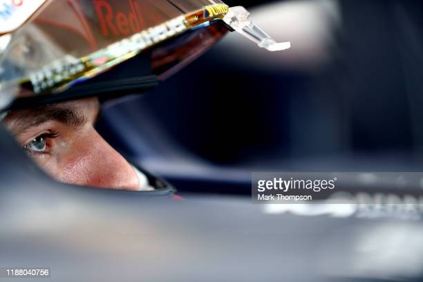 Max Verstappen of Netherlands and Red Bull Racing prepares to drive in the garage during qualifying for the F1 Grand Prix of Brazil at Autodromo Jose...