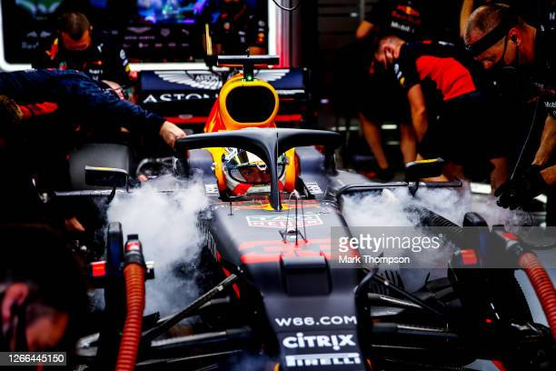 Max Verstappen of Netherlands and Red Bull Racing prepares to drive during qualifying for the F1 Grand Prix of Spain at Circuit de...
