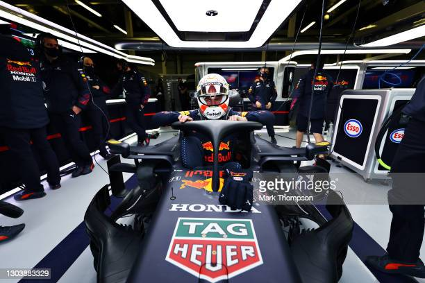 Max Verstappen of Netherlands and Red Bull Racing prepares to drive in the garage during the Red Bull Racing Filming Day at Silverstone on February...