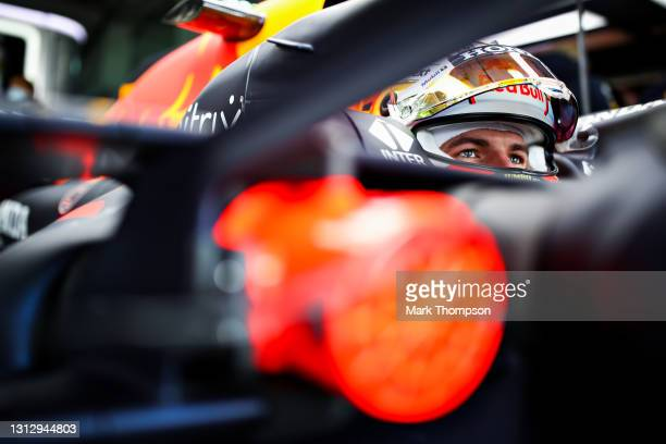 Max Verstappen of Netherlands and Red Bull Racing prepares to drive in the garage during final practice ahead of the F1 Grand Prix of Emilia Romagna...
