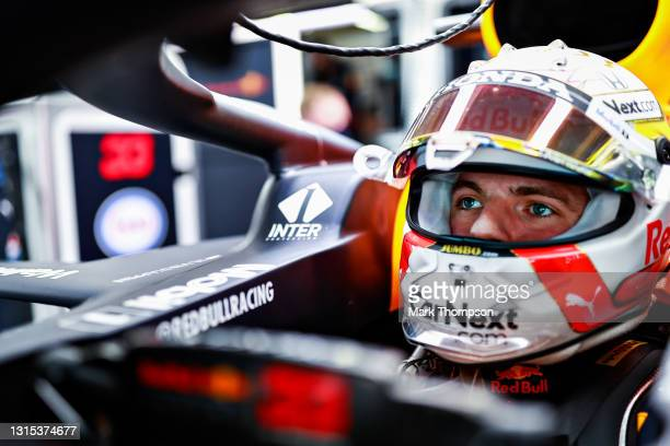 Max Verstappen of Netherlands and Red Bull Racing prepares to drive in the garage during practice ahead of the F1 Grand Prix of Portugal at Autodromo...