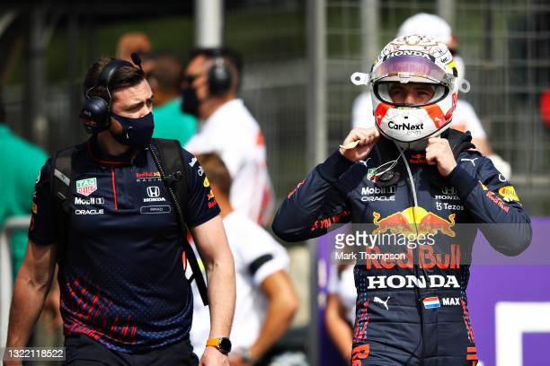 Max Verstappen of Netherlands and Red Bull Racing prepares to drive on the grid ahead of the F1 Grand Prix of Azerbaijan at Baku City Circuit on June...