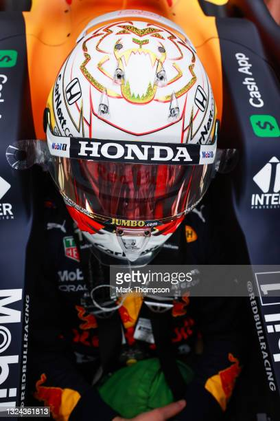 Max Verstappen of Netherlands and Red Bull Racing prepares to drive in the garage during final practice ahead of the F1 Grand Prix of France at...