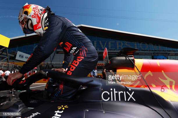 Max Verstappen of Netherlands and Red Bull Racing prepares to drive on the grid before the F1 Grand Prix of Great Britain at Silverstone on July 18,...