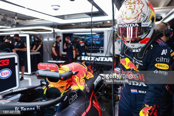 Max Verstappen of Netherlands and Red Bull Racing prepares to drive in the garage during practice ahead of the F1 Grand Prix of Hungary at...
