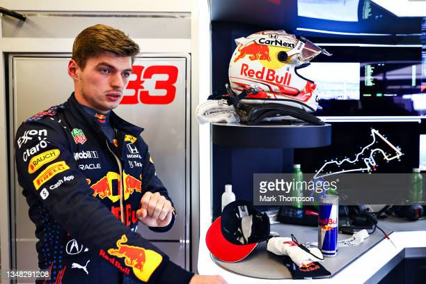 Max Verstappen of Netherlands and Red Bull Racing prepares to drive in the garage during qualifying ahead of the F1 Grand Prix of USA at Circuit of...