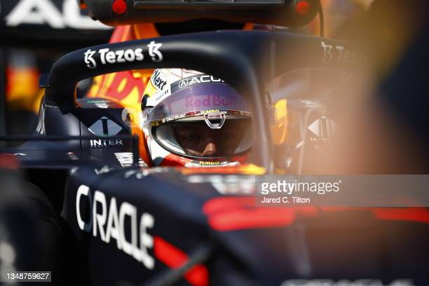 Max Verstappen of Netherlands and Red Bull Racing prepares to drive on the grid during the F1 Grand Prix of USA at Circuit of The Americas on October...