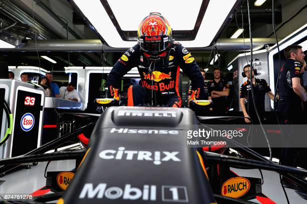 Max Verstappen of Netherlands and Red Bull Racing prepares to drive in the garage during qualifying for the Formula One Grand Prix of Russia on April...