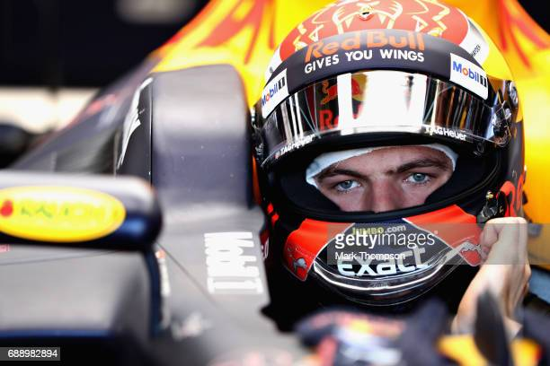 Max Verstappen of Netherlands and Red Bull Racing prepares to drive in the garage during qualifying for the Monaco Formula One Grand Prix at Circuit...