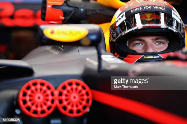 Max Verstappen of Netherlands and Red Bull Racing prepares to drive during practice for the Formula One Grand Prix of Austria at Red Bull Ring on...