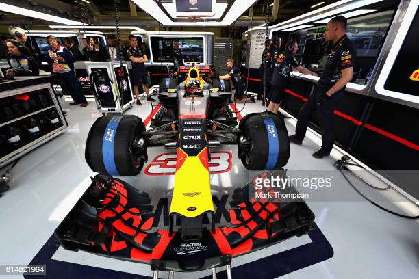 Max Verstappen of Netherlands and Red Bull Racing prepares to drive during final practice for the Formula One Grand Prix of Great Britain at...