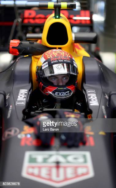 Max Verstappen of Netherlands and Red Bull Racing prepares to drive during practice for the Formula One Grand Prix of Hungary at Hungaroring on July...