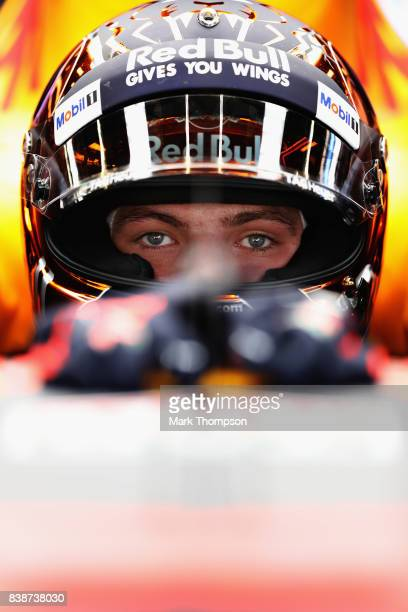 Max Verstappen of Netherlands and Red Bull Racing prepares to drive during practice for the Formula One Grand Prix of Belgium at Circuit de...